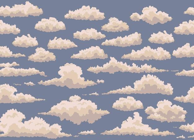 Bezszwowa ilustracja niebieskim tle z rocznika chmury.