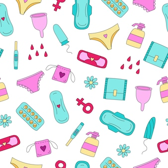 Bezszwowa ilustracja wzoru z podpaskami do tamponów dla kobiet