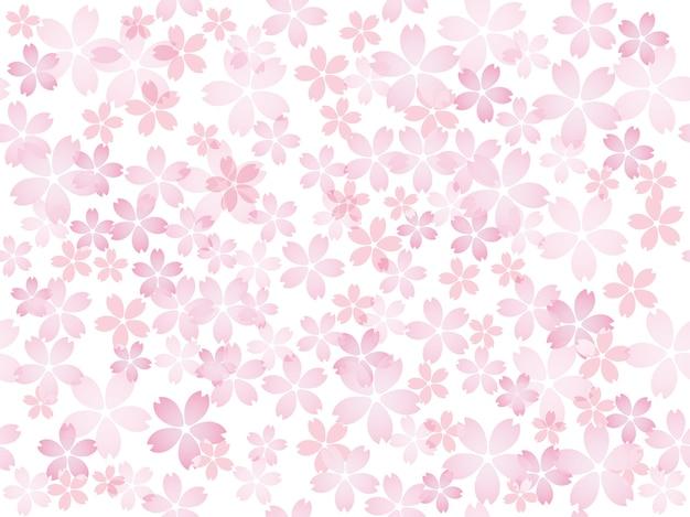Bezszwowa ilustracja z kwiatami wiśni w pełnym rozkwicie powtarzalna w poziomie i pionie