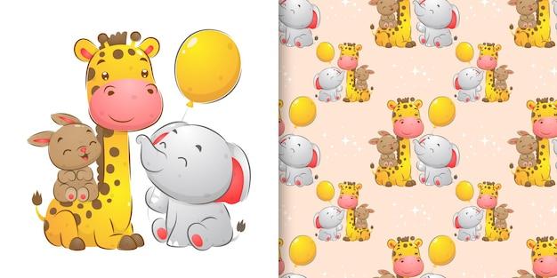 Bezszwowa ilustracja zwierząt siedzących razem i bawiących się kolorowymi balonami