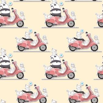 Bezszwowa jeździec panda i śliczni koty z różowym motocyklu wzorem.