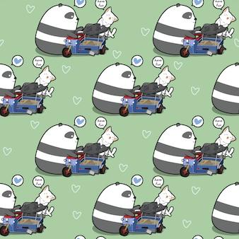 Bezszwowa Kawaii Panda I Kot Gra Wzór Zabawki Premium Wektorów
