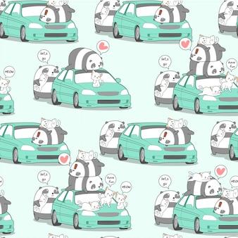 Bezszwowa kawaii panda i koty z samochodem w wakacje wzorze.