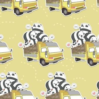 Bezszwowa kawaii panda na wzorze ciężarówki
