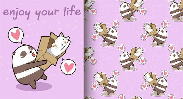 Bezszwowa kawaii panda trzyma kota we wzór pudełka