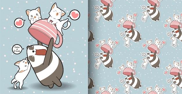 Bezszwowa kawaii panda trzyma kubek z wzorem kotów