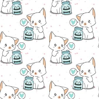 Bezszwowa kawaii panda w butelce i olbrzymi wzór kota