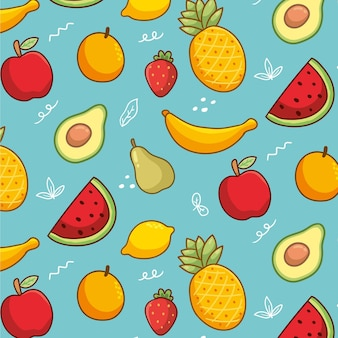 Bezszwowa kolekcja słodkich owoców egzotycznych