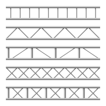 Bezszwowa konstrukcja stalowa dźwigara kratownicy. metalowa rama do billboardu. zestaw na białym tle
