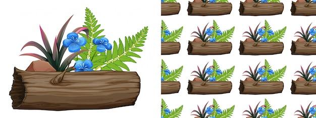 Bezszwowa konstrukcja z niebieskimi kwiatami i paprociami