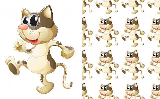 Bezszwowa kota zwierzęcia wzoru kreskówka