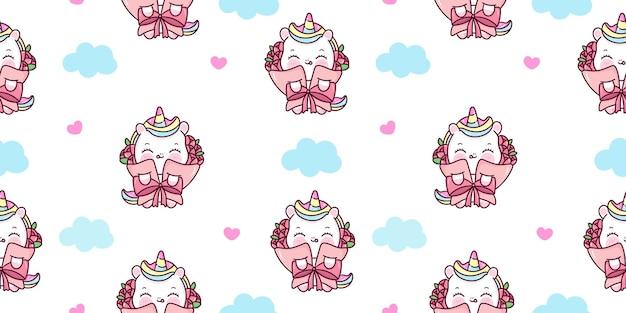 Bezszwowa kreskówka jednorożca w zwierzę kawaii wzór bukiet róż