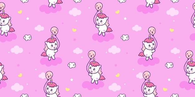Bezszwowa Kreskówka Jednorożca Z Urodzinowym Balonem Kucyk Wzór Tła Kawaii Zwierząt Premium Wektorów