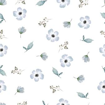Bezszwowa kwiatowa natura akwarela ręcznie rysować wzór