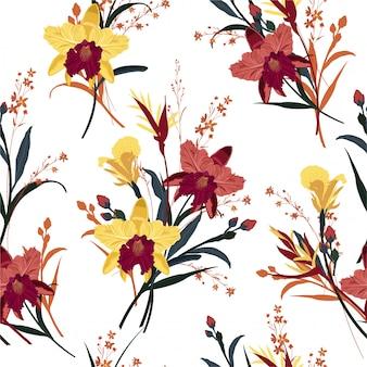 Bezszwowa kwitnąca orchidea, kwiecisty lato wzór