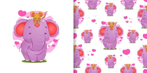 Bezszwowa myszka trzyma małą miłość na czole ilustracyjnego słonia