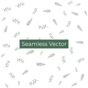 Bezszwowa natura botaniczny wzór z zielonym liściem w tle premium vector
