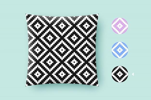 Bezszwowa nowożytna elegancka tekstura i grafika wzór. czarne powtarzające się absrakt geometryczne płytki z kropkowanym rombem na białym tle