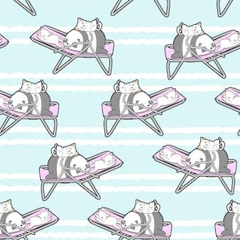 Bezszwowa panda i koty na wzór kołyski.