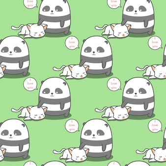 Bezszwowa panda uwielbia wzór kota.