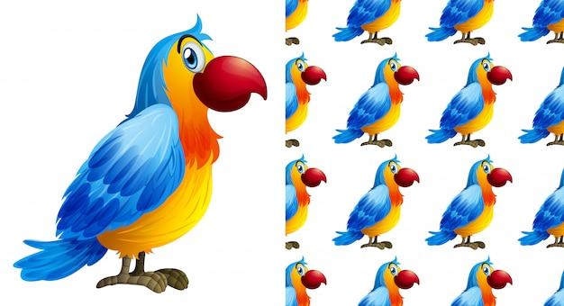 Bezszwowa papuzia zwierzę deseniowa kreskówka