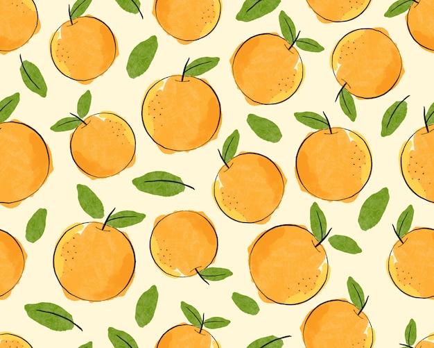 Bezszwowa pomarańcze z liścia wzoru tłem.