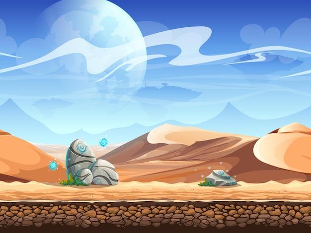 Bezszwowa pustynia z kamieniami i sylwetki statków kosmicznych.