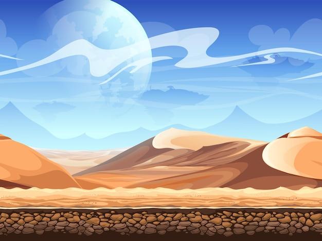 Bezszwowa pustynia z sylwetkami statków kosmicznych.