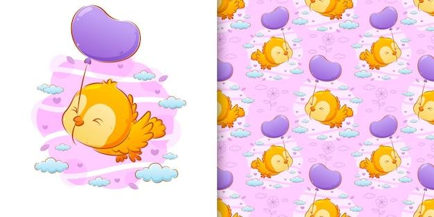 Bezszwowa ręka rysunek ptaka gryzącego linę balonów na niebie ilustracji