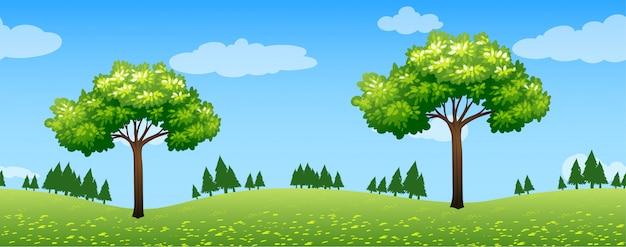 Bezszwowa scena z drzewami w parku