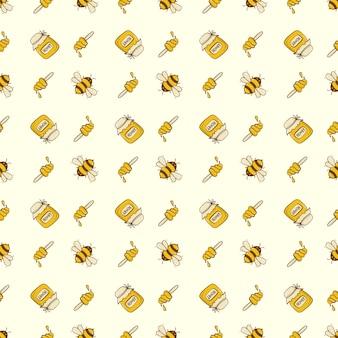 Bezszwowa śliczna pszczoła z miodem, kreskówki pszczoły wzoru szablon dla tkaniny