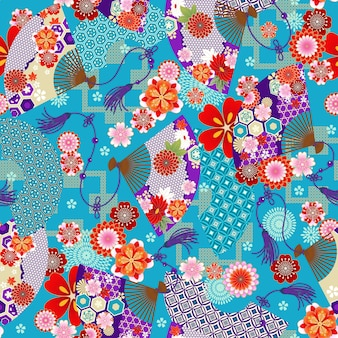 Bezszwowa tapeta z wachlarzami w stylu azjatyckim do projektowania tkanin na letnie sukienki