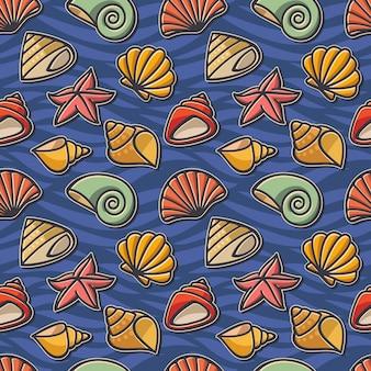 Bezszwowa tekstura na morskim temacie z dennymi symbolami