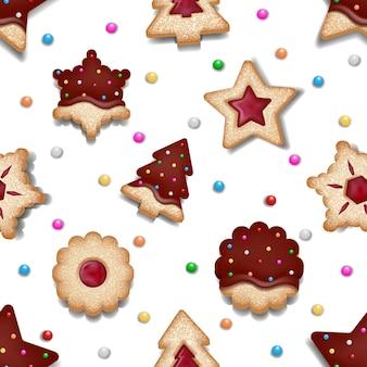 Bezszwowa tekstura świąteczna z wzorem ciasteczek z ciasteczkami świątecznymi