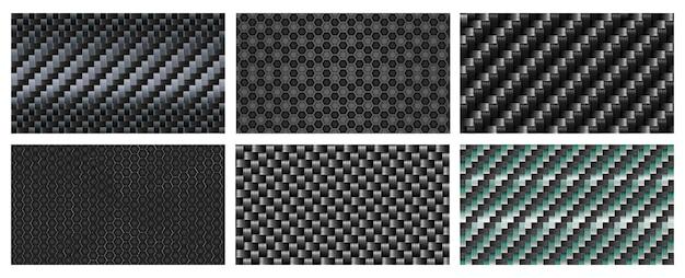 Bezszwowa tekstura włókna węglowego. czarny wzór włókien metalicznych, realistyczne tło sportowe splot węgla.