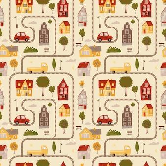 Bezszwowa tekstura wzoru symulująca mapę z samochodami drogowymi pomalowanymi w różnych kolorach z małymi domami