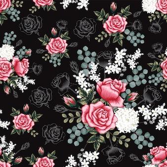 Bezszwowa wzór menchii róża kwitnie tło.