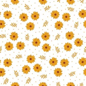 Bezszwowa wzór płytki kreskówka z żółtym kwiatem