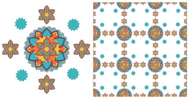 Bezszwowa z kolorowym wzorem mandali