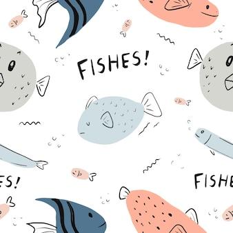 Bezszwowa zabawna kreskówka ryb pod wzorem dzikiej przyrody oceanu z wodą morską z rozdymkowatą rybą