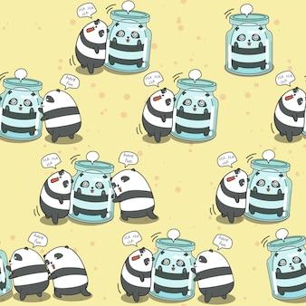 Bezszwowe 4 pandy grają razem wzór.
