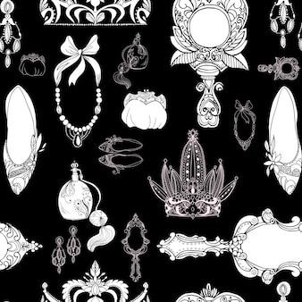Bezszwowe akcesoria księżniczki na czarno