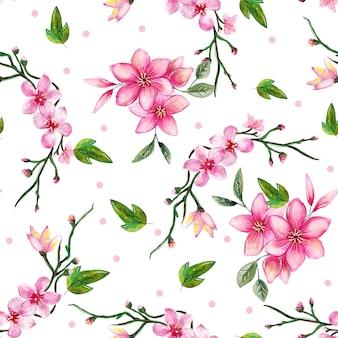 Bezszwowe akwarela kwiatowy wzór