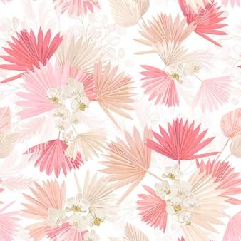 Bezszwowe akwarela zwrotnik kwiatowy wzór, pastelowe suche liście palmowe, tropikalny kwiat boho, orchidea. projekt ilustracji wektorowych dla tekstyliów mody, tekstury, tkaniny, tapety, okładki