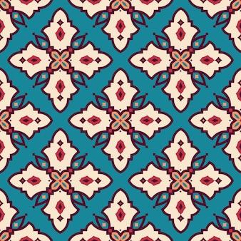 Bezszwowe arabski geometryczny dachówka kolorowy wzór na ciemnym tle.