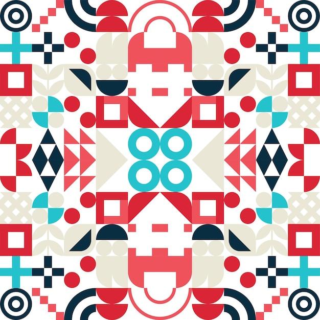 Bezszwowe bauhaus streszczenie tło wektor. retro wzór geometryczny. mozaika o prostych kształtach.