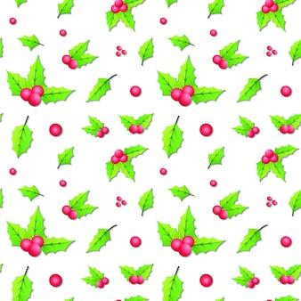 Bezszwowe boże narodzenie liści tło wzór