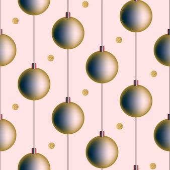 Bezszwowe boże narodzenie świąteczny wzór białe tło pocztówka zaproszenie gradient nowy rok kulki