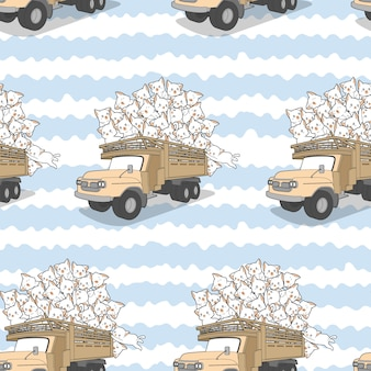 Bezszwowe ciągnione koty kawaii na wzór ciężarówki.