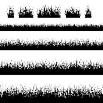 Bezszwowe czarna trawa sylwetki